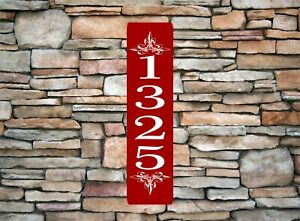 """Personalized Home Address Sign Aluminum 3"""" x 12"""" Custom House Number Plaque sq14"""