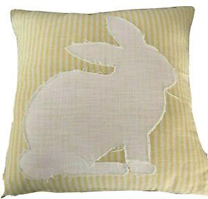 Magaschoni Home Cushion Throw Pillow Rabbit Striped Yellow White 20x20 New