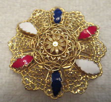 Vintage Gold Tone Red, White, & Blue Enamel Freirich Brooch