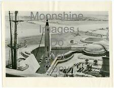 1955 Walt Disney Press Photo illustration Tomorrowland Twa Rocket at Anaheim Ca