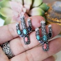 Cute Cactus 925 Silver Turquoise Earrings Ear Women Wedding Dangle Drop Jewelry