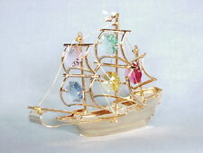 24K GOLD PLATED SAILING BOAT SWAROVSKI CRYSTAL SOUVENIR FROM DUBAI UAE