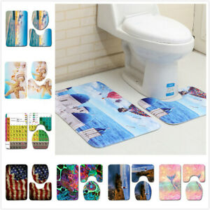 3PCS Sea Ocean Beach Bathroom Rugs Non-Slip Carpet Toilet Lid Cover Bath Mat Set