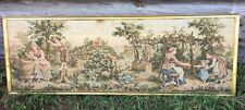 Vintage Antique French Tapestry Gold Framed Countryside Farm Scene 21 x 60""