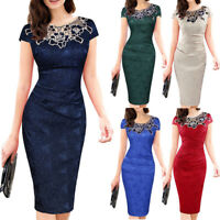 Women Plus Size Fashion Print Rose Lace Short Sleeve Work O- Neck Zipper Dress P