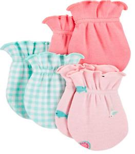 Carter's Baby Girls' 3-Pack Scratch Mittens Set - Flamingo - 0-3 Months
