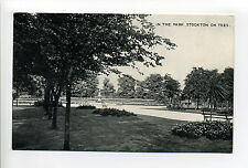England, Co Durham, Stockton on Tees, In the Park, fountain, benches, early