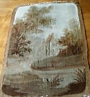 Antique 18c French Aubusson tapestry chateau in a landscape chair cover panel