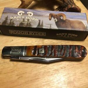"Rough Ryder Big Daddy Barlow Brown Rams Horn Bone 5"" Pocket Knife  RR1595"