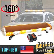 "72W 38"" Car Truck LED Light Emergency Warning Roof Plow Tow Strobe Amber White"