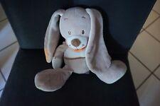 136/ doudou peluche lapin beige bandana foulard orange INFLUX CORA 18cm assis