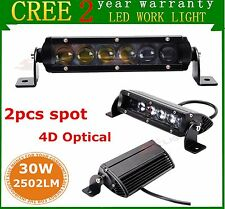 "2X 7"" 30W CREE LED Light Bar Single Row 4D Lens SPOT Off-road 4WD Jeep Truck ATV"
