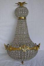 Lustre montgolfière plafonnier baroque 65 cm bronze et pampilles verre
