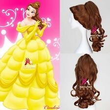 Beauty and The Beast Princess Belle Short Curly Brown Cosplay Party Anime Wig