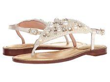 6332f72b2960 Kate Spade S119025 Sama Ivory Satin Pearl JEWEL Embellished T-strap Sandal  7.5