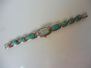 Edle Armbanduhr ,  925 Silber mit Türkisen ,  Clarissa