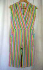 Vintage Sleeveless Cropped Wide Leg Romper Multicolor Stripes Size S / XS