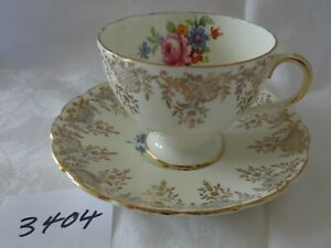 Vintage FOLEY Cup & Saucer rose bouquet Gold Overlay pattern