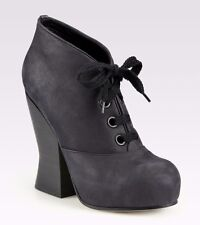 ACNE SHOES SELENA LACE UP BOOTIES PLATFORM HEELS 40 $590 BLACK ANKLE BOOTS