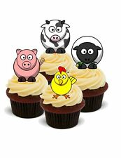 NOVELTY FARMYARD ANIMALS 12 STAND UPS Edible Image Cake Toppers Farm Pig Cow