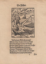 Il pescatore ORIG legno taglio Jost Amman 1568 Hans Sachs STAND LIBRO