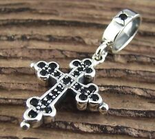 P256S Sterling Silver 925 Cross Onyx Pendant for Chain Necklace Gothic Charm