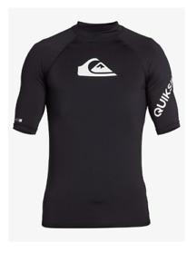 Quiksilver Boys All Time Short Sleeve UPF 50 Rashguard Black Size 12 3563