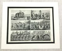 1849 Antique Engraving Print South American Aztec Human Sacrifice Native Dance