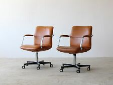 More details for tan leather desk chairs, 1970s