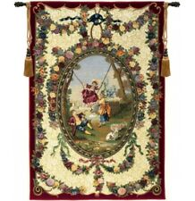 """Medallion XVIII (Bordeaux) French Tapestry Wall Hanging H 78"""" x W 50"""""""