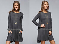 GREY 52 POCKET TUNIC DRESS Shirt Top A-Line Jersey Long Sleeve Basic S M L XL
