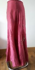 KEW by JIGSAW 12 UK Pink Maxi Panelled Skirt 100% Raw Silk Embellished Sequins