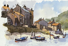 Staithes Yorkshire, John Tookey vintage 1980s print in 11 x 14 inch mount SUPERB
