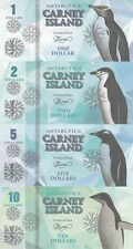 Carney Island Set of 8 banknotes 2016 - Penguins UNC (Private issue)