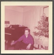 Vintage Photo Young Man w/ Christmas Tree & Piano Music Home Interior 743968