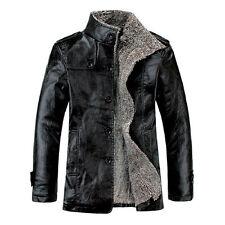 CHEAP!New Warm Men PU Leather Fur Parka Fleece Winter Jacket Trench Coat Outwear