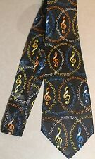 Lot's Of Large Musical Notes On A New Black 100% Polyester Neck Tie! #2