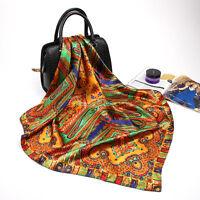 "Women's Fashion Print Square Head Scarves Silky Satin Hijab Wraps Scarf 35""*35"""