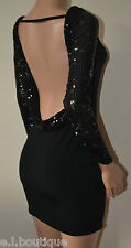 VICKY MARTIN sequin black long sleeve backless bodycon mini dress BNWT (1) 8 10