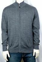 New Tailorbyrd Collection Men's Heather Grey 100% Wool Full Zip Cardigan