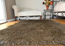 5x5 Coyote  Print Faux Fur Shaggy Furry Spot Animal Fake Fur Rugs Lodge Cabin