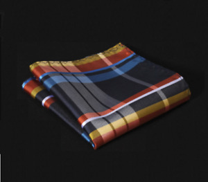 Silk Pocket Square Blue & Yellow Silk Plaid & Checkered Handkerchief