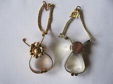 Two vintage Womens Glove Shawl Holder Clip Clasp Gold Tone, flower, Greek key