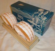 Vtg Mid Century Set of 6 Karoff Pink Plastic Shell Sea Food Servers Original Box