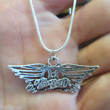 """AEROSMITH Necklace 18""""; 'Get Your Wings' Aeroforce; Alloy Charm; 1mm Cord Chain"""