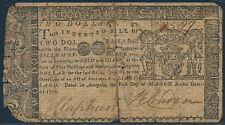 Md-56 $2.00 Maryland Colonial Currency March 1,1770 Bs6535