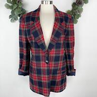 Vintage Haberdashery Womens Blazer Jacket Sz 14 Wool Plaid Oversized Navy Red