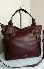 Fossil 1954 Cow Hide Leather Maroon Large Bag Shoulder Cross Body Handbag N47