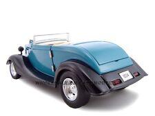 1934 FORD CUSTOM CONVT. 1:24 BLUE DIECAST MODEL CAR BY UNIQUE REPLICAS 18540