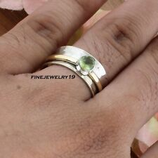 Peridot Ring 925 Sterling Silver Spinner Ring Meditation Handmade Jewelry GZ25